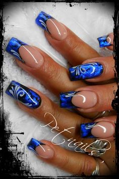 Nadire Atas on Stylish Manicures Blue Nail art ideas DIY colorful Sexy Nails, Hot Nails, Fancy Nails, Hair And Nails, Fabulous Nails, Gorgeous Nails, Great Nails, Amazing Nails, Fingernail Designs