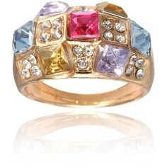 Colourful Rhinestone Dazzling Finger Ring ($3.00) ❤ liked on Polyvore featuring jewelry, rings, rhinestone jewelry and rhinestone rings