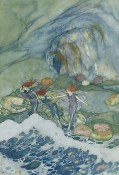 """Edmund Dulac SHAKESPEARE`S COMEDY OF THE TEMPEST (1908) """"Prospero- And ye that on the sands with printless foot do chase the ebbing Neptune"""""""