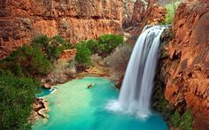 Havasu Falls, Arizona // America's Best Swimming Holes via Travel and Leisure Vacation Places, Vacation Destinations, Dream Vacations, Vacation Spots, Places To Travel, Best Swimming, Swimming Holes, Arizona Waterfalls, Grand Canyon Hiking