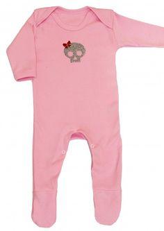 Pink Skull Baby Sleepsuit | Glitter Skull Baby Clothes