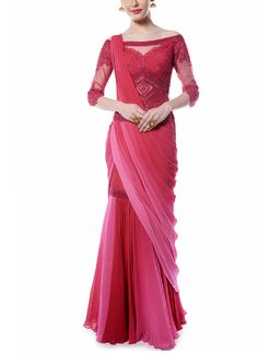 Saree gown in carmine With stunning embroidered detailing on the bodice and pretty ombre drape, this enticing deep red and pink drape saree by Mandira Wirk is perfect for any special occasion or memorable event Indian Dresses, Indian Outfits, Ivory Dresses, Indische Sarees, Alaia Dress, Diy Summer Clothes, Diy Clothes, Drape Sarees, Saree Gown