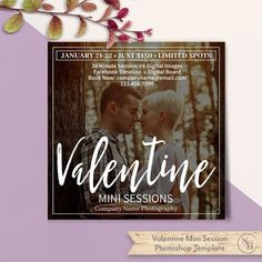 Valentine Mini Sessions Template, PSD Flat Card, Marketing Board, Photography Marketing, Photoshop Template, Instant Download