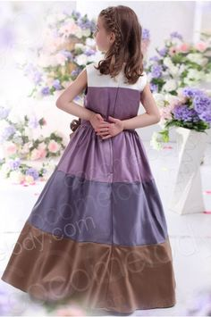 A Line Tank Top Floor Length Satin Purple Girls Christmas Dress CKZF13003 #girldress #cocomelody