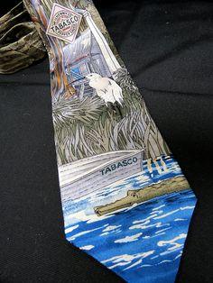 Tabasco 100% Silk Necktie Louisiana Swamp Heron Bird Alligator Shack Boat Camo #Tabasco #Tie