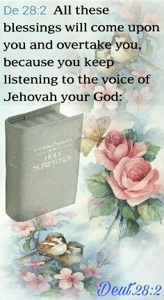 Deuteronomy 28:2 All these blessings will come upon you and overtake you, because you keep listening to the voice of Jehovah your God: