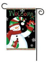 "Outdoor Decorative Garden or House Flag - Welcome Snowman (Flag size: 12.5"" x 18"")"