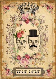 INSTANT Digital DOWNLOAD - DIY Printable Gothic Victorian Skull Couple - Antique…