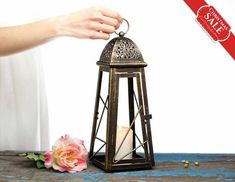 Holiday Gifts Rustic Lanterns, Moroccan décor, Bronze Candle Holder, Wedding Lighting Centerpiece, Christmas Decorations
