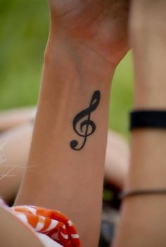 Treble Clef Tattoo.. My first tattoo I got. This is not mine but I have the exact one on my right wrist :)