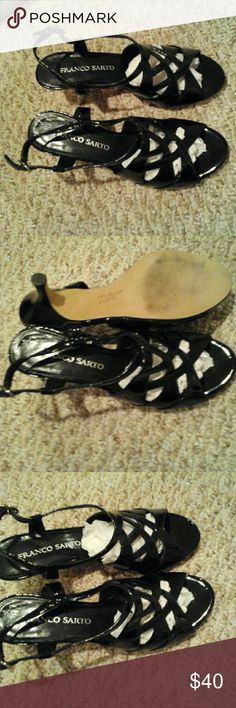 Franco Sartro Shiny Black Leather low heels,  7 Beautiful shoes for Summer. Almost like new. Franco Sarto Shoes Heels
