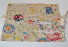 Hello and welcome to my Etsy listing. Here we have an original mixed media envelope artwork - French dated 1952. I have free machine embroidered my dog design, cut him out and applied him to a vintage paper ephemera-collaged envelope. The fabric at the bottom of the design is antique French cotton print. Hand embroidered flowers surround him. Beautiful, old MoP buttons. Hand painted teeny Bees. Text reads : Best friend Envelope measures : 6 wide x just under 4.5 15.5 x 11 cm This piece ...