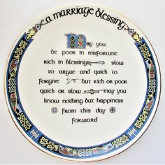 A Marriage Blessing Plate Irish Blessing Made in Ireland