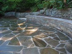 Flagstone patio, Mollala ledge stone seat wall, rubble rock retaining walls. 2008. by gardengirly, via Flickr