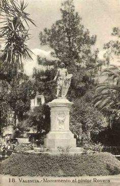 POSTALES DE VALENCIA: MONUMENTO AL PINTOR ROVERA (RIBERA)