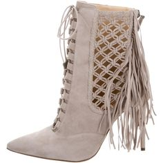 Pre-owned Alexandre Birman Pointed-Toe Fringe Booties ($250) ❤ liked on Polyvore featuring shoes, boots, ankle booties, green, lace up boots, lace up ankle booties, suede fringe boots, green boots and suede fringe booties