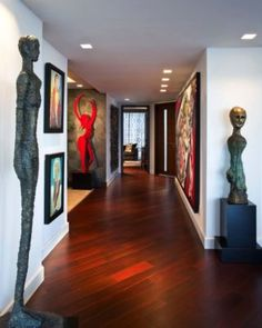 Jupiter Residence by Fava Design Group Home Inspiration inspire group home Hallway Art, Dark Wood Floors, Wood Flooring, Oversized Wall Art, Interior Decorating, Interior Design, Entry Foyer, Elegante Designs, Luxury Apartments