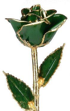 Dark Green 24k Gold Rose - Real Rose Dipped in Gold by Living Gold, http://www.amazon.com/dp/B00BGI25VW/ref=cm_sw_r_pi_dp_cd2xrb1HMV0J7