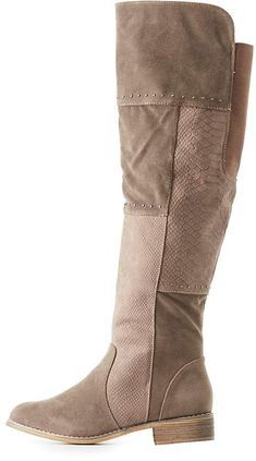 c5ee78abdbb Charlotte Russe Faux Suede Studded Knee-High Boots