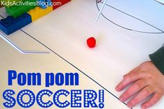 totally using this for a scripture mastery game.. DIY Pom Pom Soccer Game - Kids Activities Blog