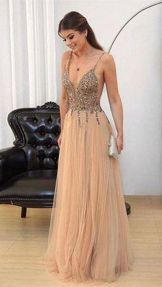 Champagne v neck sequin tulle long prom dress, evening dress