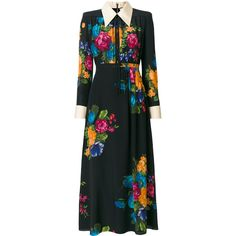 Gucci floral print shirt dress (205.750 RUB) ❤ liked on Polyvore featuring dresses, black, floral dresses, t-shirt dresses, long-sleeve floral dresses, shirt dress and long-sleeve maxi dresses