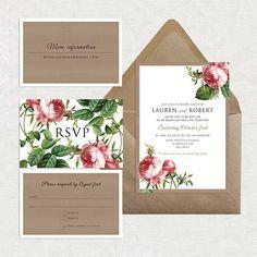 sweet rose wedding invitation suite rustic by idoityourself