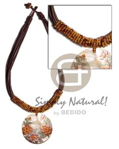 8 Layers Wax Cord  Glass Beads & 40mm Round Hammershell/embossed Handpainted Teens Necklace