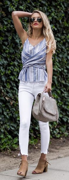 #summer #outfits  Blue Striped Bandage Top + White Skinny Jeans + Grey Suede Satchel