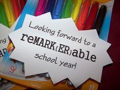 Meet the reMARK(ER)able Teacher (easy teacher gift) - A teacher can never have too many markers!  Love this!  #TeacherGift  #BackToSchool