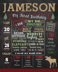 Lumberjack First Birthday Chalkboard poster DIGITAL FILE