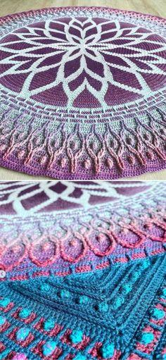 Free Mandala Crochet Patterns, Crochet Blanket Patterns, Crochet Motif, Crochet Yarn, Free Crochet, Crotchet, Crochet Afgans, Crochet Blankets, Mandala Yarn