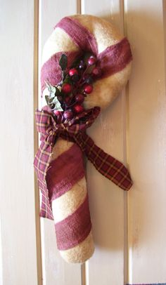Shop for christmas on Etsy, the place to express your creativity through the buying and selling of handmade and vintage goods. Prim Christmas, Christmas Holidays, Christmas Crafts, Candy Cane Decorations, Peppermint Sticks, Candy Canes, Primitives, 4th Of July Wreath, Wall Decor