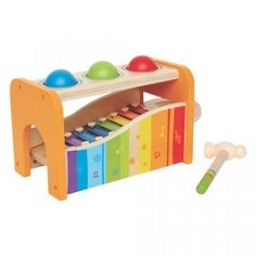 Pounding on Hape's Pound and Tap Bench sends the balls tinkling over the xylophone. Pull out the keyboard and the xylophone can be played solo. Durable child safe paint finish and solid wood construction are hallmarks of Hape toys. Toddler Toys, Toddler Activities, Toddler Stuff, Hape Toys, Eco Friendly Toys, Musical Toys, Activity Toys, Baby Games, Toddler Girls