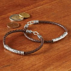 Men's Silver and Leather Bracelet | National Geographic Store