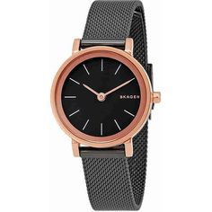Skagen Hald Rose Gold-Tone and Gunmetal Ladies Watch ($90) ❤ liked on Polyvore featuring jewelry, watches, rose gold tone jewelry, gun metal jewelry, analog watches, skagen wrist watch and dress watch