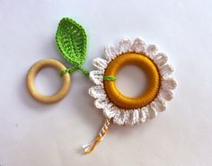 Camomile Baby Teething Toy / Crochet toy / Fine motor skills development toy / Chewing Toy. $15.00, via Etsy.