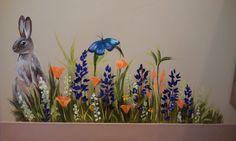 Bunny with flowers and butterfly mural idea as seen on www.findamuralist.com
