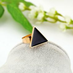 Simple Colored Glazed Triangle Adjustable Ring For Women, BLACK