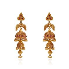 jhumki-Earrings | Ruby Stone Studded Antique Jimmiki | GRT Jewellers
