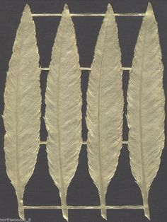FEATHER FLY BIRD QUILL  DECORATIVE PAPER FOIL DRESDEN GERMAN GOLD DETAILED LARGE