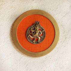 Framed Brass Plaque of Hindu Diety Hanuman & A Hooded Naag On Orange Raw Silk - Dia 26 cm, Ancient Indian Paintings, Pooja Room Door Design, Brass Plaques, Photo Frame Design, Clay Wall Art, Ethnic Home Decor, Indian Home Interior, Tanjore Painting, Traditional Decor