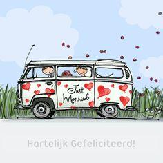Super leuke felicitatie kaart voor een nieuw huwelijk, grappig en origineel. Design: Anet van de Vorst. Te vinden op: www.kaartje2go.nl