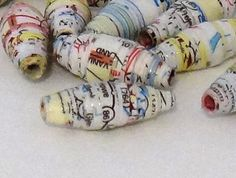 Paper Beads made from Upcycled Maps  25 pcs by UpcycledSupply