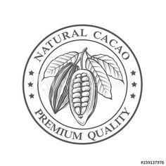 monochrome cocoa beans and leaves stamp