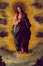 Onbevlekte Ontvangenis van Maria - Wikipedia. De Onbevlekte Ontvangenis, geschilderd in 1630-35 door Francisco de Zurbarán (Museo Nacional del Prado, Madrid)