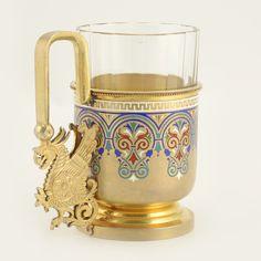 Ivan Khlebnikov Enamel Tea Glass Holder   John Atzbach Antiques