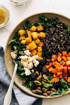 Roasted root vegetables, earthy grains, dried fruit, dark leafy g Dried Cherries, Dried Fruit, Clean Eating Recipes, Healthy Eating, Creamy Balsamic Dressing, Roasted Winter Vegetables, Cooking Wild Rice, Wild Rice Salad, Vegetarian Recipes