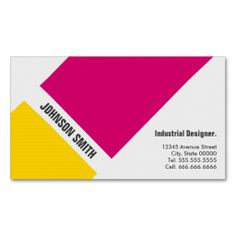 Industrial Designer - Simple Pink Yellow Business Cards