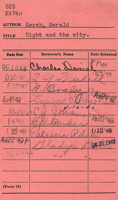 "The ""old days"" library card!"